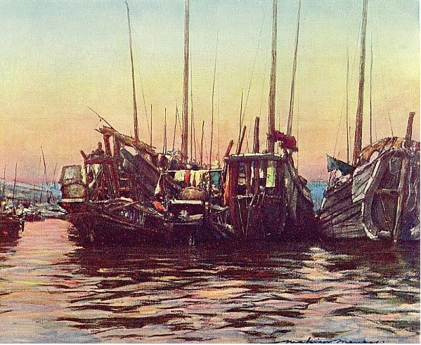 Junks. Mortimer MENPES (1855-1938), Henry Arthur BLAKE (1840-1918) : China. — Adam and Charles Black, Londres, 1932, 138 pages, + 16 illustr. couleurs + 64 illustr. noir et blanc.