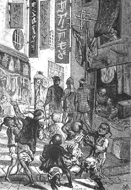 Nous avons à notre suite un cortège de gamins moqueurs. Ludovic de Beauvoir (1846-1929) : Voyage autour du monde... La Chine. Plon, Paris, 3 tomes 1867-1872.