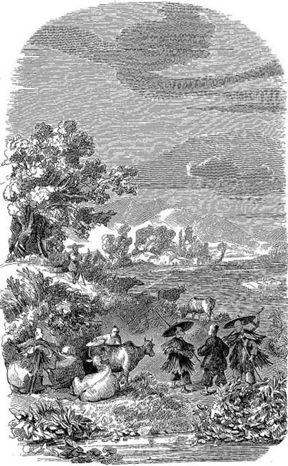 Paysans. Old Nick [Émile Daurand-Forgues (1813-1883)], et Auguste Borget (1807-1877) pour les illustrations : La Chine ouverte. Aventures d'un fan-kouei dans le pays de Tsin. — Fournier, éditeur, Paris, 1845.