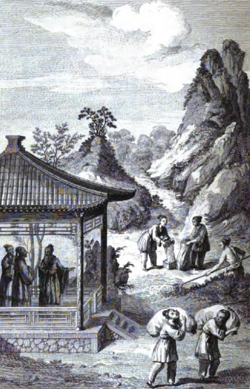 Koung-tsée dans le Ting rural, en discussion avec deux disciples