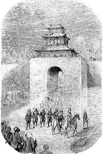 Entrée des Alliés à Pé-King, 13 octobre 1860. Lucy : Lettres intimes sur la campagne de Chine en 1860. Barile, Marseille, 1861.
