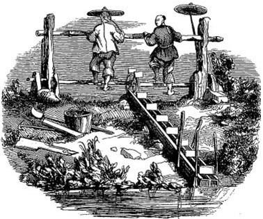 Noria. Old Nick [Émile Daurand-Forgues (1813-1883)], et Auguste Borget (1807-1877) pour les illustrations : La Chine ouverte. Aventures d'un fan-kouei dans le pays de Tsin. — Fournier, éditeur, Paris, 1845.