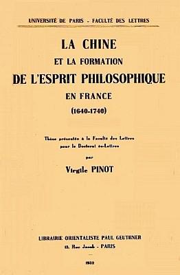 Pinot La Chine Et Formation De Lesprit Philosophique En France