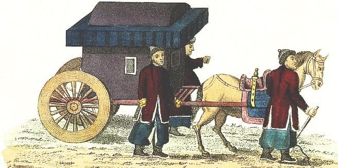 Voiture de la cong-tchou. Jean-Baptiste Breton de la Martinière (1777-1852) : La Chine en miniature, ou choix de costumes, arts et métiers de cet empire. — Nepveu, libraire, Paris, 1811.