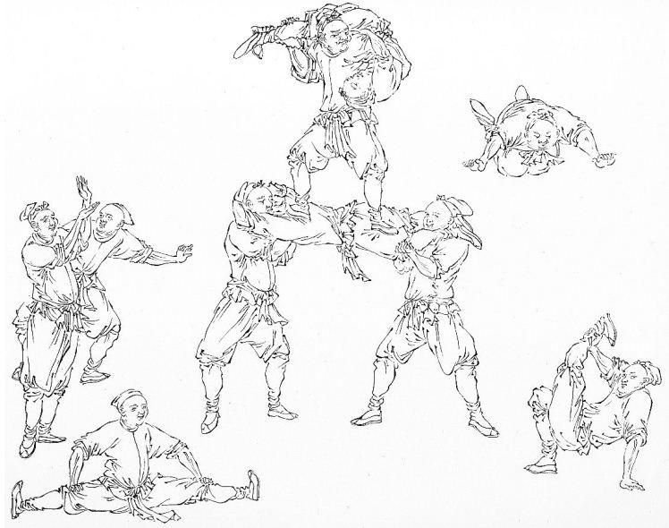 """Jongleurs (dessin extrait de """"La peinture chinoise au musée Guimet"""", par Tchang Yi-tchou et J. Hackin.)."""