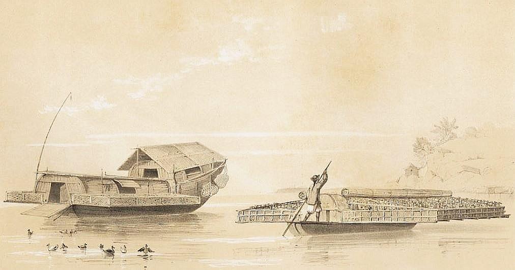Bateau des environs de Canton servant à élever des canards.