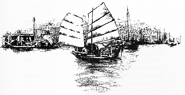 Bateau chinois 2. Illustration de Mortimer Menpes (1855-1938), China, 1909.
