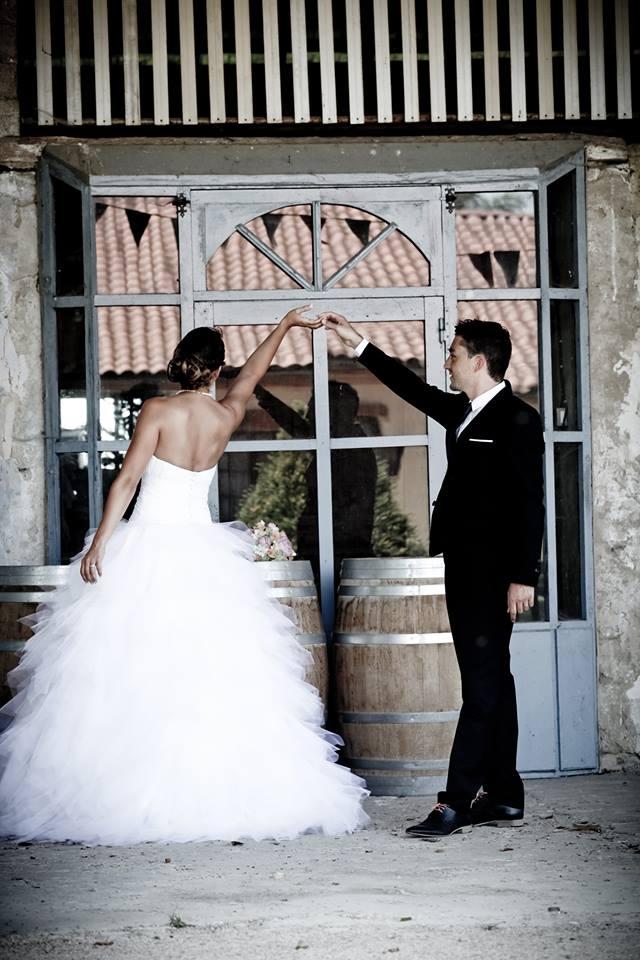 Tulle et taffetas robe de mariée Sylvie Berry Couture