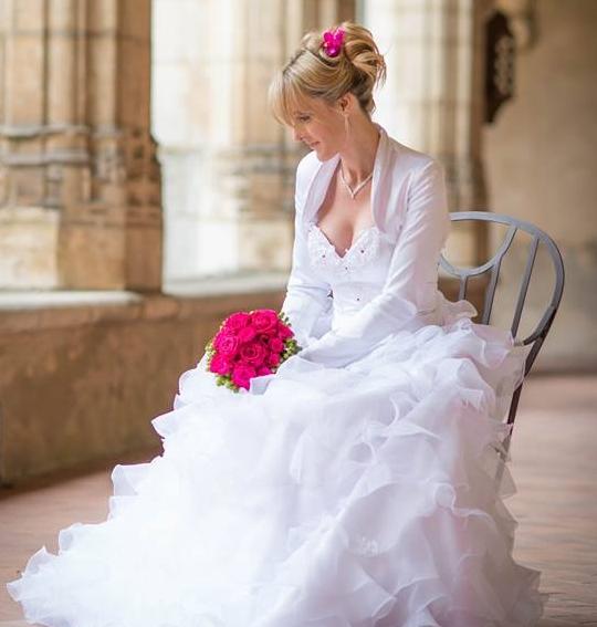 Robe de mariée taffetas et mousseline Sylvie BERRY COUTURE