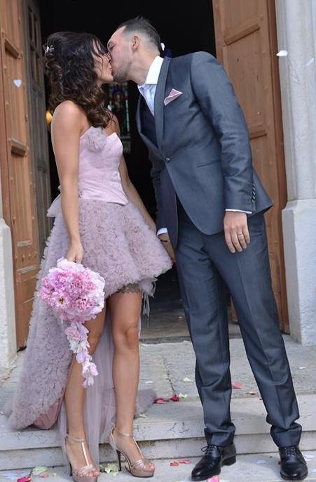 Robe de mariée sur mesure en tulle vieux rose par Sylvie Berry Créations