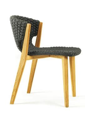 Knit silla y sillón para terraza exterior de madera y cuerda ethimo la cadira