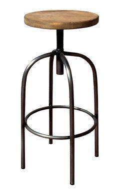 taburete vintage metalico asiento de madera kdcontract lacadira.com