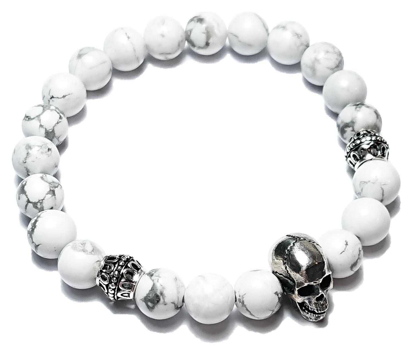 BEHERO Herren - Armband Skull (weißer Howlith)