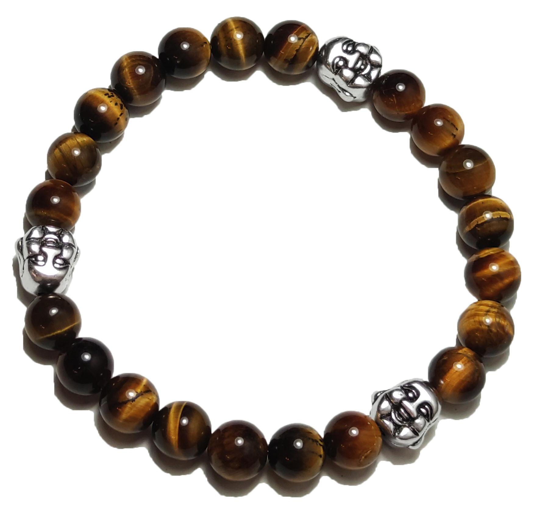 BEHERO Herren - Armband Happy Buddha (Tigerauge)