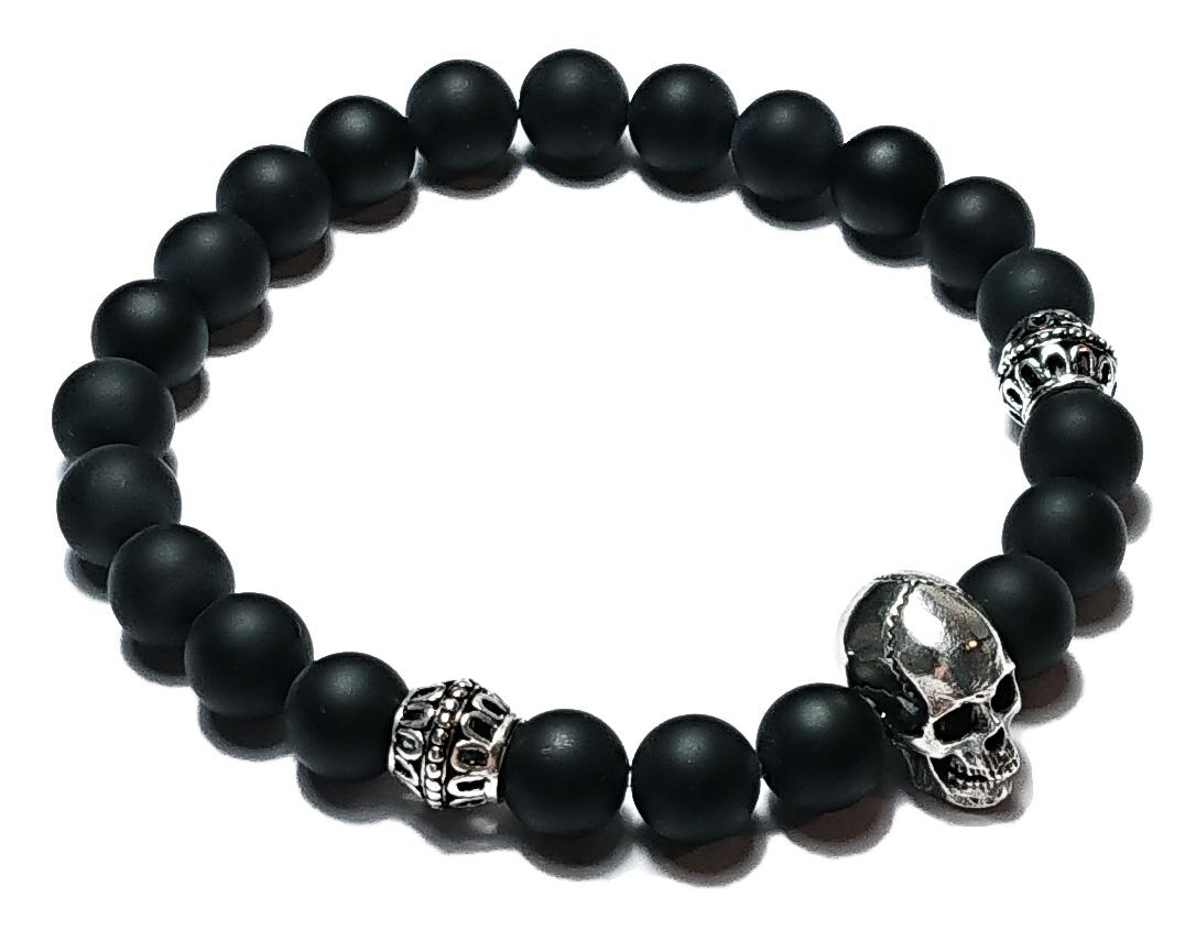 BEHERO Herren - Armband Skull (Onyx matt)