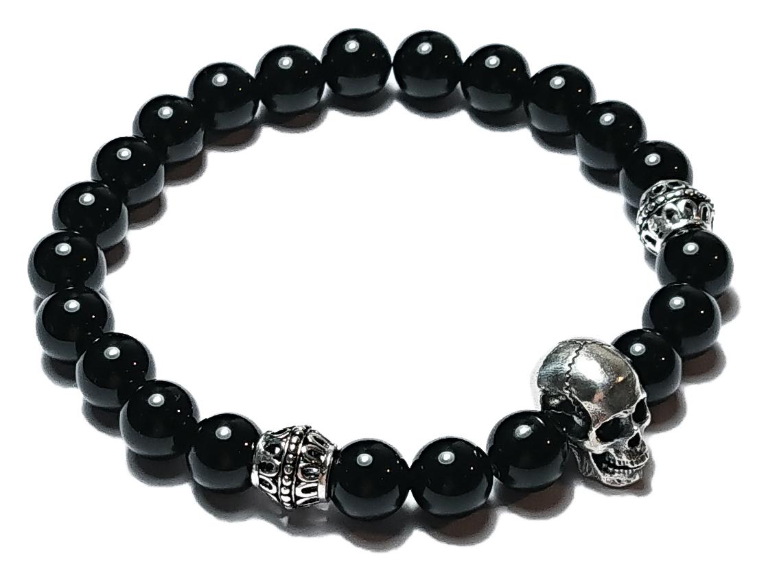 BEHERO Herren - Armband Skull (Onyx)