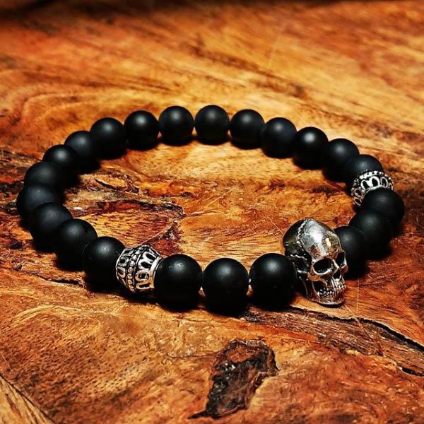BEHERO Designer Armband Skull (matt schwarz)