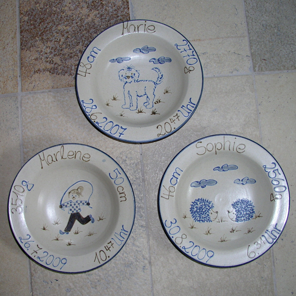 Keramik personalisierter Geburtsteller  handgemalt