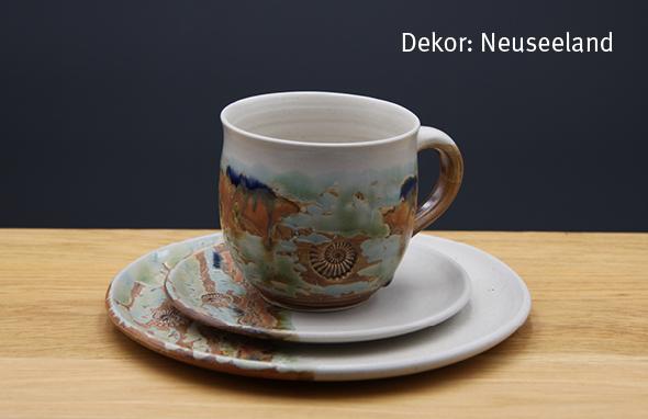Keramik Kaffee- / Teegedeck Tasse bauchig, Unterteller, Kuchenteller Dekor Neuseeland
