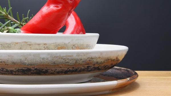 Keramik Speisegedeck Speiseteller ø ca. 26,5 cm, Suppenteller ø ca. 22 cm, Salatschale ø ca. 17 cm H ca. 5 cm, Dekor Basalt