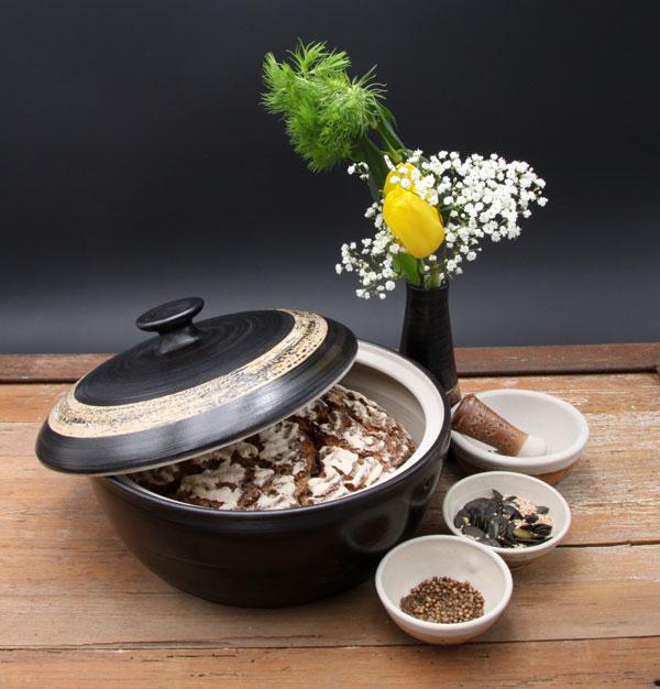 Keramik, Brottopf Dekor Schiefer ø ca 29 cm h ca. 10,5 cm