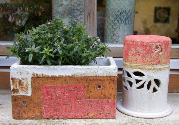 Keramik frostfest, Festerkästen, ca. 25x14cm, h ca. 14 cm, als Pflanztöpfe zum direkt bepflanzen oder als Übertopf, Dekor Granatapfel