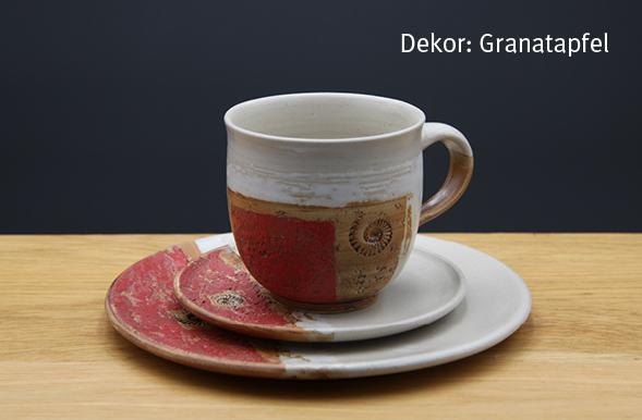 Keramik Kaffee- / Teegedeck Tasse zylindrisch, Unterteller, Kuchenteller Dekor Granatapfel