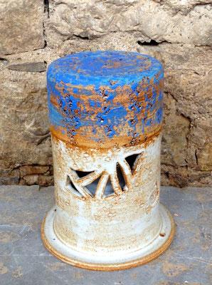 Keramik Säule als Grablicht handgemacht, DekorSantorin