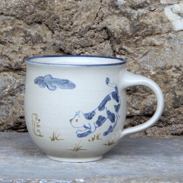 Keramik Kindertasse mit Katze und Maus, ø ca. 9 cm, h ca. 9 cm,  handgemalt