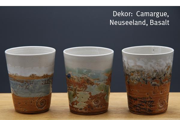 Keramik Becher Camargue, Neuseeland Basalt, H ca. 11 cm ø oben ca. 9 cm