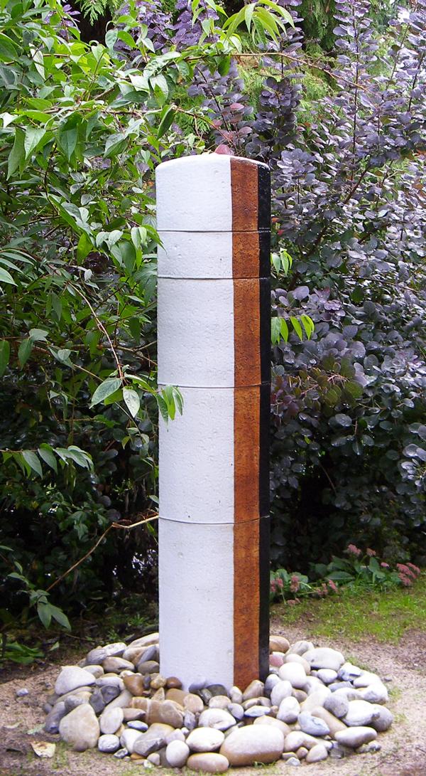Keramik Wassersäule Oval grau natur schwarz ca. 170 cm hoch