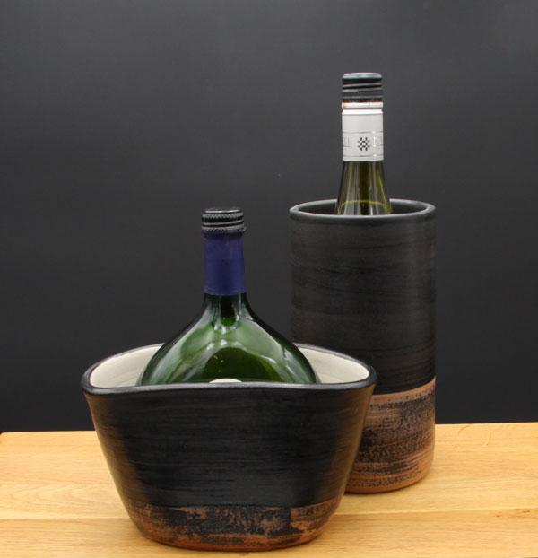 Keramik Weinkühler für Literflasche oder Bocksbeutel, Dekor Schiefer