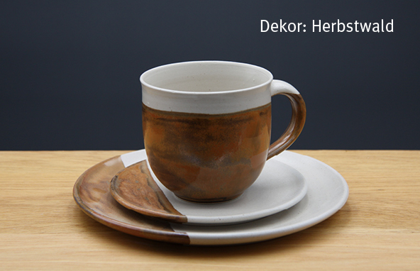 Keramik Kaffee- / Teegedeck Tasse zylindrisch, Unterteller, Kuchenteller Dekor Herbstwald