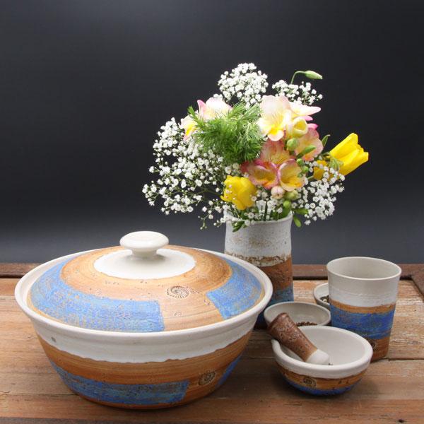 Keramik, Brottopf Dekor Santorin ø ca 29 cm h ca. 10,5 cm