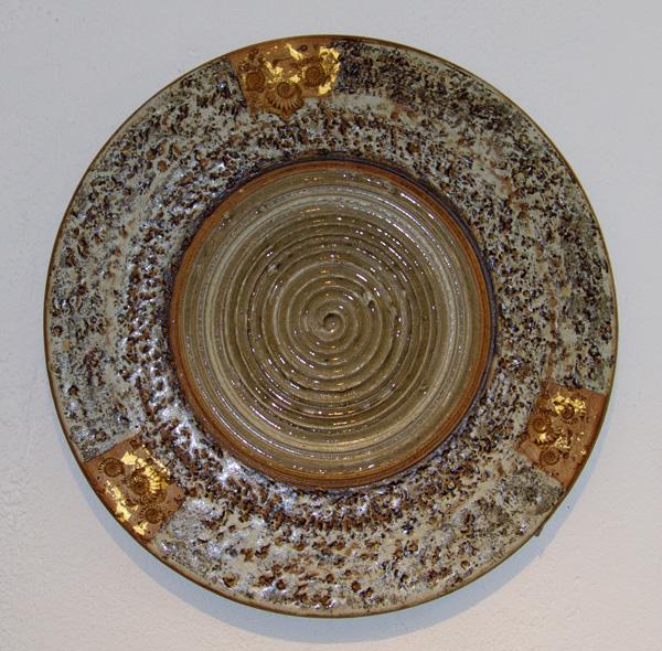 Keramik handgemacht, Spirale mit Blattgold ø ca. 43 cm