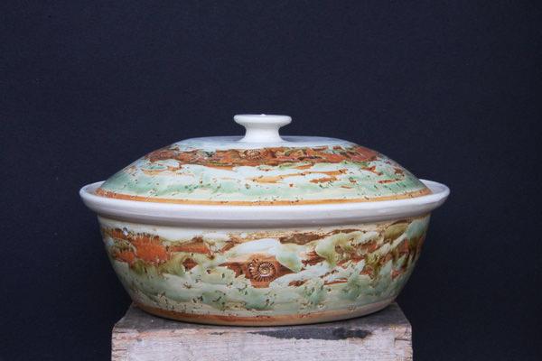 Keramik, Brottopf Dekor Neuseeland ø ca 32 cm h ca. 10 cm