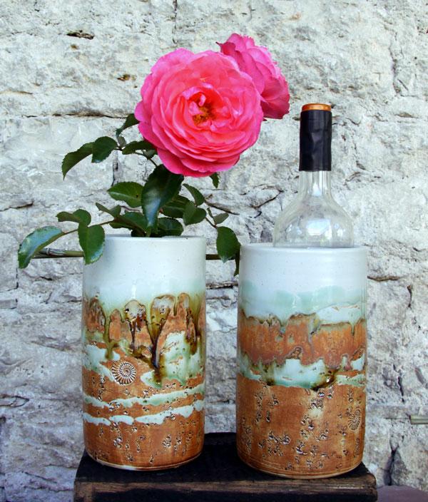 Keramik Weinkühler Literflasche, Dekor Neuseeland, Weinkühler mit Blumensteckeinsatz und ohne