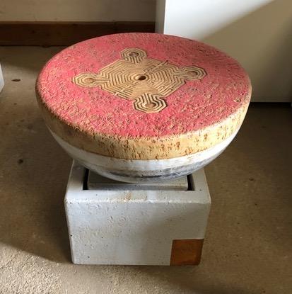 Keramik Brunnen ca. 35 cm  ø  Quellstein Labyrinth mit Keramik Becken, weiß natur glasiert