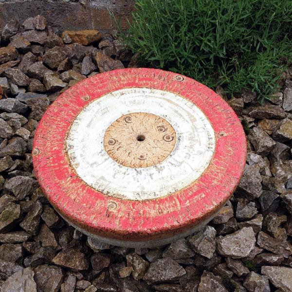 Quellstein ø ca. 50 cm rot grau natur glasiert