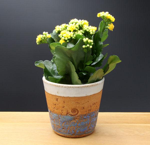 Keramik Übertopf, Dekor Santorin,  ø oben ca. 13,5 cm, h ca. 12 cm