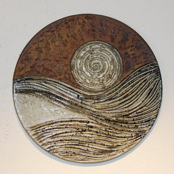 Keramik handgemacht, Landschaft ø ca. 43 cm