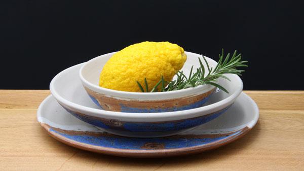 Keramik Speisegedeck Speiseteller ø ca. 26,5 cm, Suppenteller ø ca. 22 cm, Salatschale ø ca. 17 cm H ca. 5 cm, Dekor Santorin