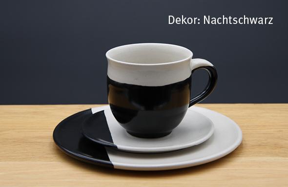 Keramik Kaffee- / Teegedeck Tasse zylindrisch, Unterteller, Kuchenteller Dekor Nachtschwarz