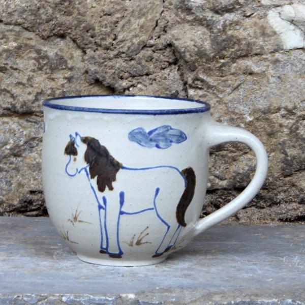 Keramik Kindertasse mit Pferd, ø ca. 9 cm, h ca. 9 cm,  handgemalt