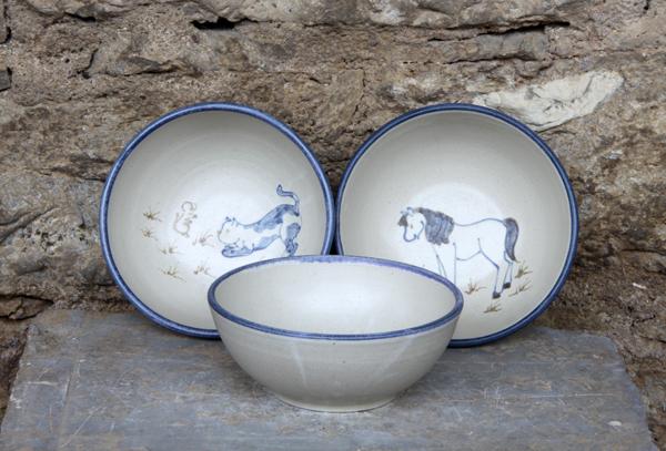 Keramik Müslischalen, ø ca. 15 cm, h. ca. 6 cm, mit Motiv handgemalt