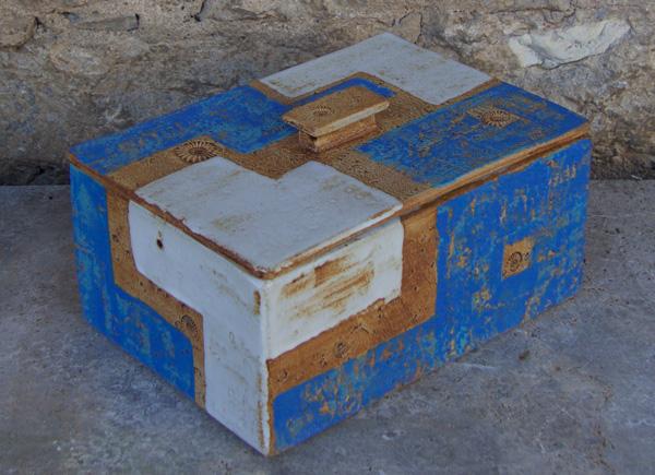 Keramik, Brottopf gebaut, Santorin, ca. 20 cm x 28,5 cm, h . ca. 13,5 cm