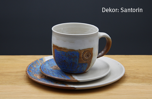 Keramik Kaffee- / Teegedeck Tasse zylindrisch, Unterteller, Kuchenteller Dekor Santorin