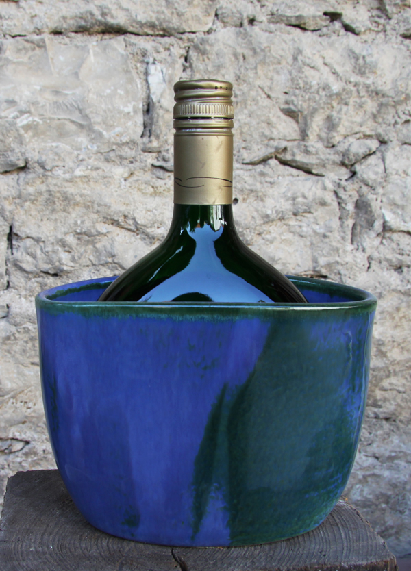 Keramik Weinkühler für Bocksbeutel, Dekor Blick ins Meer