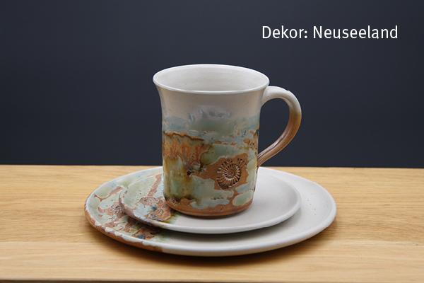 Keramik Kaffee- / Teegedeck Tasse zylindrisch, Unterteller, Kuchenteller Dekor Neuseeland
