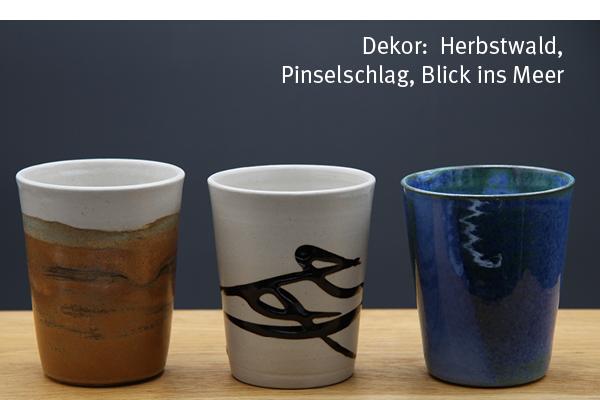 Keramik Becher Herbstwald, Pinselschlag, Blick ins Meer, H ca. 11 cm ø oben ca. 9 cm